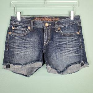Express Women's Frayed Cuff Denim Shorts Size 4
